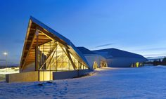 Teeple Architects designed the Philip J. Currie Dinosaur Museum in Alberta that's built from beetle-kill pine and designed to meet LEED Silver standards.