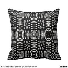 Black and white pattern throw pillow