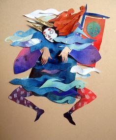 Illustration japanese yoshimitsu paper collage Morgana Wallace