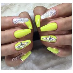 Neon Yellow Coffin Nails by MargaritasNailz