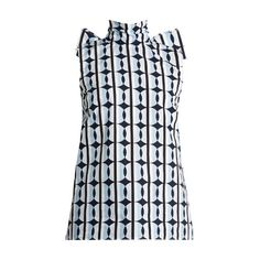 Miu Miu Graphic Dot-print cotton top ($680) ❤ liked on Polyvore featuring tops, blue print, graphic tops, high neck crop top, oversized crop top, cropped tops and sleeveless tops