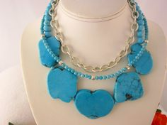 Sterling silver and turquoise necklace  Spring/ by Nattidreads, $300.00