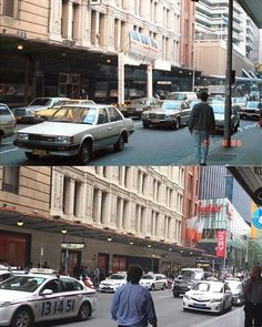 Looking north east along Market Street, Sydney, 1986 & 2017. Photo: Phil Harvey #sydney #history http://fat.ly/gehY (Instagram Image from @beliefmedia, 2nd February 2017 8:52pm).