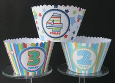 AGE Cupcake wrappers. Any age can be done. £2.70 for 6 + postage. £5.20 for 12 + postage. State which age and pattern is required. Can do in girls colours too.