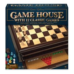 Game Gallery 12 in 1 Game House Board Game, Adult Unisex Tic Tac Toe, Checkers Board Game, Pick Up Sticks, Wood Games, Games To Buy, Toys For Boys, Playing Cards, Boards, Fun