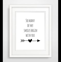 """Originaldruck – """"so many of my smiles begin with you""""… – ein Designerstück vo… - Fotowand ideen Mommy Quotes, Baby Quotes, Smile Quotes, Couple Quotes, Quotes Quotes, Tarot, Diy Baby Shower Decorations, Love Wall Art, The Words"""