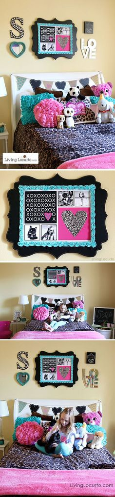 Girls Bedroom Wall Art Ideas. Decorating ideas and cute DIY Inspiration for personalized art. LivingLocurto.com