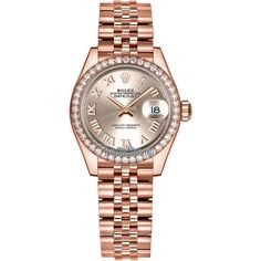 Rolex Lady Datejust 28mm Everose Gold 279135RBR Sundust Roman Jubilee... ($28,208) ❤ liked on Polyvore featuring jewelry, watches, yellow gold jewelry, gold wristwatch, polishing gold jewelry, gold wrist watch and gold jewelry