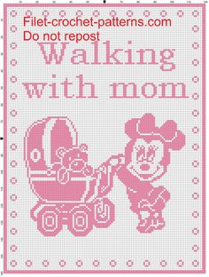 Baby blanket minnie Walking with mom filet crochet pattern