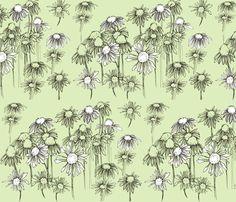 Green Coneflower fabric by countrygarden on Spoonflower - custom fabric