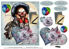 Twinkle Clown Hearts Topper with Decoupage on Craftsuprint - Add To Basket!