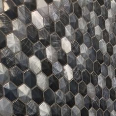 Black hexagon mosaic tiles by L'antic Colonial. New for 2018.
