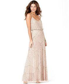 Adrianna Papell Spaghetti-Strap Beaded Blouson Gown - Dresses - Women - Macy's