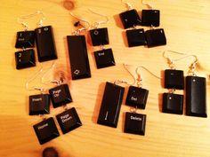 Keyboard earrings in jewelry electronics  with recycling keyboard electronic earrings Computer Art