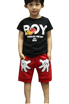 Baby Boys T-shirt Tops Red Pants Outfits Sets Casual 2pcs Summer (5-6 Year, Black)