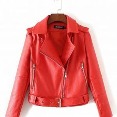 chaqueta-cuero-mujer-rojo Red Leather, Leather Jacket, Jackets, Fashion, Models, Red, Women, Studded Leather Jacket, Down Jackets
