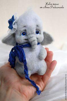 Купить Слоняшка Ириска - серый, синий, слон, слоник, слоники, слониха, слоненок, Сухое валяние