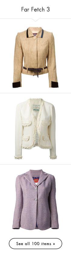 """Far Fetch 3"" by trufflelover ❤ liked on Polyvore featuring outerwear, jackets, collar jacket, long sleeve crop jacket, silk jacket, vintage jacket, john galliano, blazers, coats & jackets and takit"