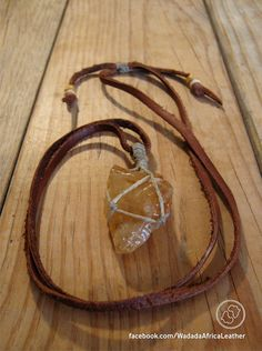 Handmade Knotted Macrame Basket Raw Citrine Calcite Crystal Necklace with Macrame Loop on Adjustable Upcycled Deerskin Leather Thong by WadadaAfrica on Etsy