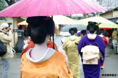 A rainy day  Japanese umbrella,geisha