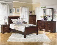 Ashley Alisdair 6PC Bedroom Set Twin Sleigh Bed Two Nightstand Dresser Mirror Chest in Dark Brown >>> Learn more by visiting the image link. (This is an affiliate link) #AshleyBedroomFurniture