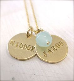 Gold Personalized Hand Stamped Mommy Necklace / Two Gold Discs Personalized with an Aqua Chalcedony Bead on Etsy, $65.00