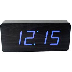 Gingko Slab Blue LED Alarm Clock - Black ($33) ❤ liked on Polyvore featuring home, home decor, clocks, clock, fillers, electronics, accessories, black, led digital clock and wood led clock
