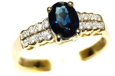 Genuine Diamond 18K Yellow Gold Solitaire Blue Sapphire Ring [RS0038] BKGjewelry http://www.amazon.com/dp/B00CDO2D9M/ref=cm_sw_r_pi_dp_73Fkwb1N5YTB8