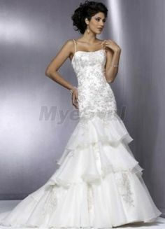 A-line Straps Embroidery Sleeveless Chapel Train Organza Unique Wedding Dress