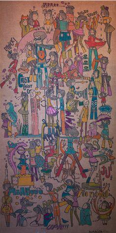 Probando letras y colores sobre cartón, tamaño 100x50 cm. Escuchando The Velvet Underground, Lou Reed, The Stone Roses. La idea surgió en base a una charla en búsqueda de onomatopeyas. The Velvet Underground, Base, Painting, Listening To Music, Small Talk, Chowders, Lyrics, Colors, Drawings