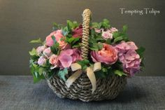 Natural Flower Basket by Tempting Tulips