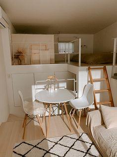 Small Room Design Bedroom, Room Ideas Bedroom, Home Room Design, Bedroom Decor, Girls Bedroom Furniture, Small Apartment Interior, Studio Apartment Living, White Apartment, Loft Interior Design