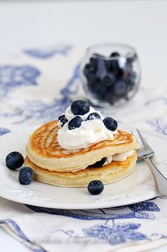 pancakes with a side of blueberries