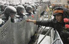 À espera do resultado das eleições nas ruas da Ucrânia, mulher coloca cravos nos escudos de policiais. Kiev, Ucrânia, 24/11/2004. Foto: Vasily Fedosenko/Reuters