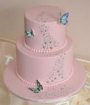 beautiful birthday cake picture with butterflies and cake in light pink
