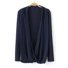 Casual Plain Knitted V-Neck Draped Wrap Blouse (120 HRK) via Polyvore featuring tops and blouses