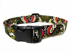 Damask Adjustable Dog Collar by playfulpup on Etsy, $12.00