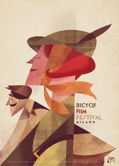 """""""L'eleganza del pedale""""  Riccardo Guasco 2013 Illustration for Milano Bicycle Film Festival"""