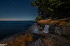 Moonlit Night at Elliot Falls-Pictured Rocks National Lakeshore-native aspect Michigan Waterfalls, Pictured Rocks National Lakeshore, Waterfall Photo, Picture Rocks, Fall Pictures, Under The Stars, Beautiful Landscapes, Places To See, The Good Place