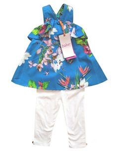 c877630f24e Ted Baker Tunic Top Leggings Baby Girl Outfit Blue Floral Summer 3-6 Months