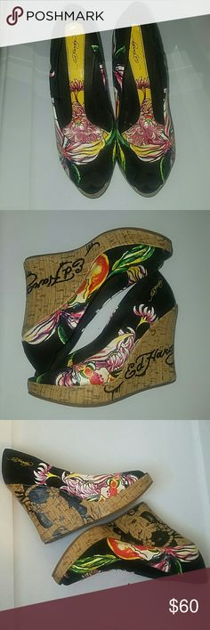 Ed Hardy peep toe wedges Very unique. Summertime shoe. Best conversation starter. Size is a guess based on my normal size, can't find size printed on shoe Ed Hardy Shoes Wedges