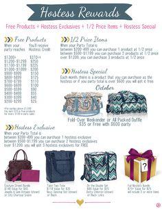 Hostess Rewards for October. Contact me today to host your party!