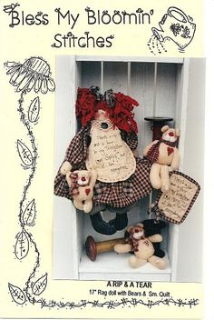 Link to photostream of 5,000+ pictures, templates, patterns, and instructions for dolls, stuffies, embroidery, and applique