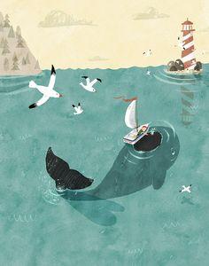 Whale art print / friendship art print / by LeeWhiteIllustration