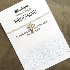 Don't want a wish bracelet but a bracelet with a clasp? How about this silver tie the knot bracelet to give to your bridesmaids #bridesmaidproposals #bridesmaidgiftideas