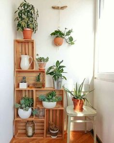 Crates in my kitchen corner. Crates as plant stands. Crate construct… Crates in my kitchen corner. Crates as plant stands. Wood Crate Diy, Decor, Apartment Decor, Small Balcony Decor, Wood Crates, Diy Home Decor, Home Diy, Diy Pots, Home Decor