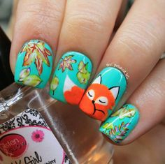 Cute sleeping fox nail art
