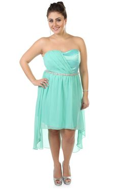 plus size strapless chiffon short prom dress with high low skirt