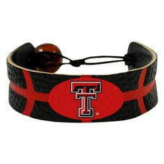 Texas Tech Raiders Leather Basketball Bracelet