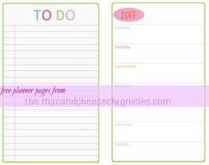 Free 2013 Weekly Undated Planner Pages (half size) | Planner ...